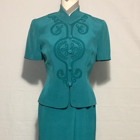 Maggy London Dresses & Skirts - Maggy London Green 100% Silk 2 Piece Dress Women 4